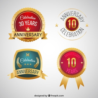 Round anniversary labels pack