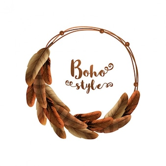 Round background of brown feathers