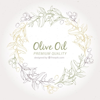 Round background of olive wreath