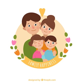 Round background of smiling family
