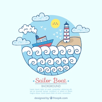 Round background with boat and lighthouse