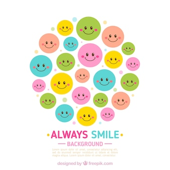 Round background with colored emoticons