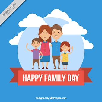 Round background with happy family and red ribbon