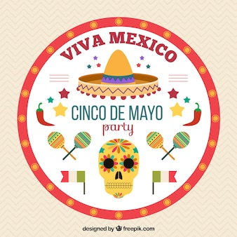 Round background with mexican objects for may five