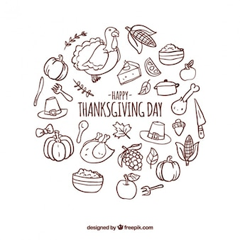 Round background with thanksgiving items