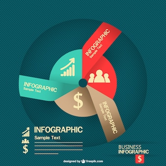 Round business infographic with rising charts