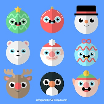 Round christmas characters in flat design