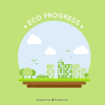 Round eco logo with green buildings and car