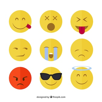 Round emoticons with funny faces