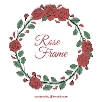 Round frame of hand-drawn roses