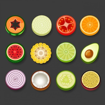 Round fruit and vegetables