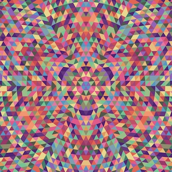 Round geometric triangle kaleidoscope mandala background - symmetric vector pattern design from multicolored triangles