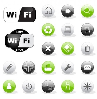 Round glossy web and wifi symbol icons