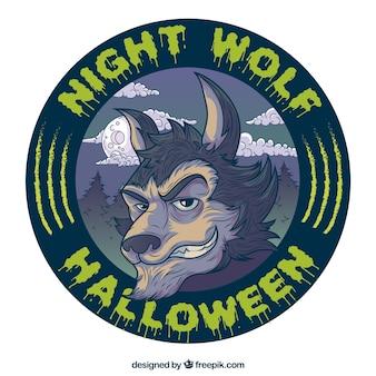 Round halloween label with a wild wolf