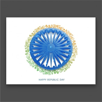 Round indian republic day card with floral decoration