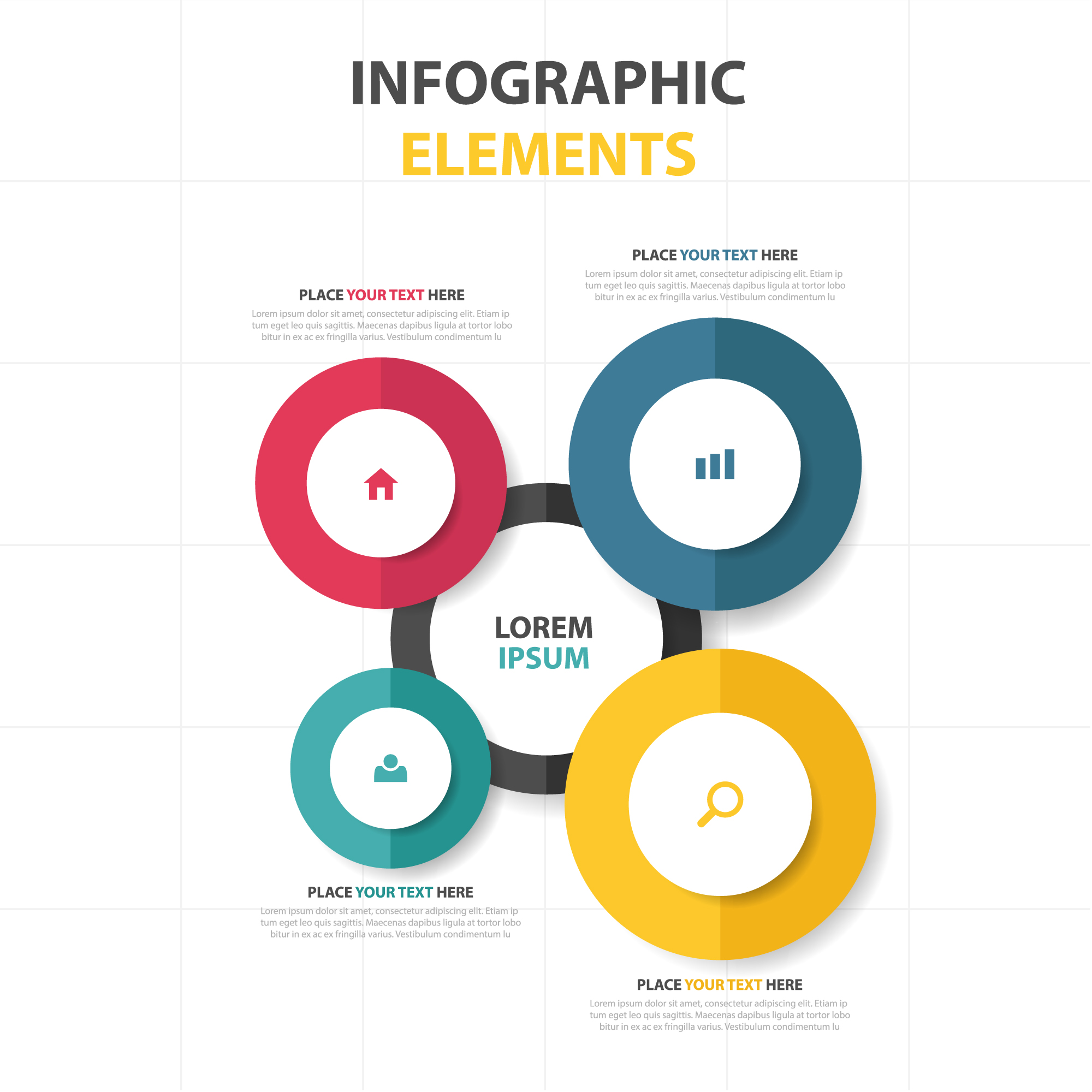 Round infographic elements template