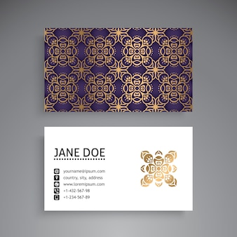Round luxury mandala visiting card
