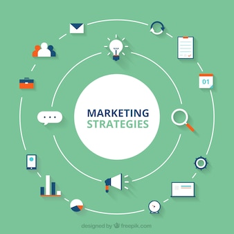 Round marketing background with different items