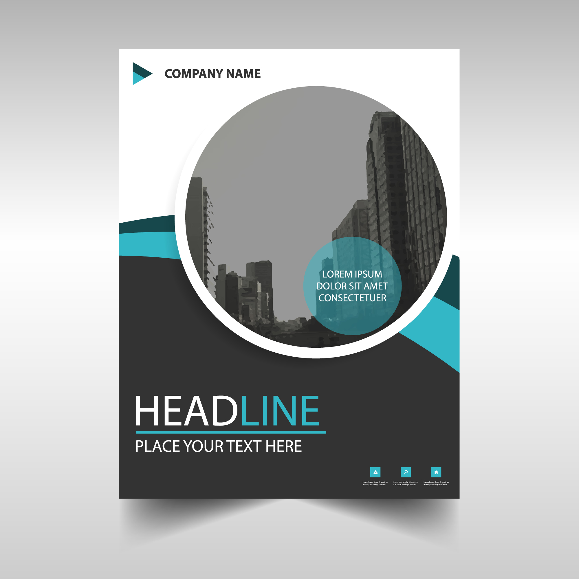 Round modern annual report template
