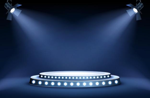 Round podium stage in spotlights rays