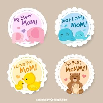 Круглые наклейки с милыми элементами для дня матери
