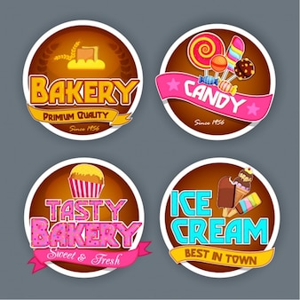 Round stickers with sweets
