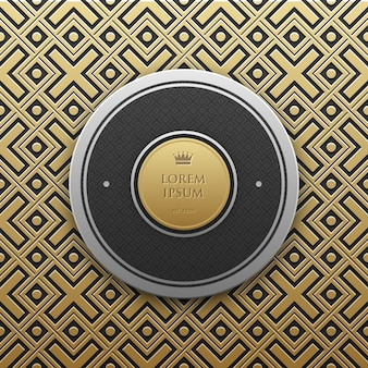 Round text banner template on golden metallic background with seamless geometric pattern. Elegant luxury style.