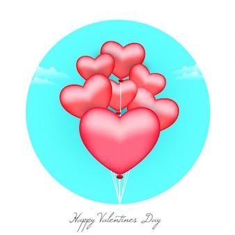 Round valentine's background with balloons
