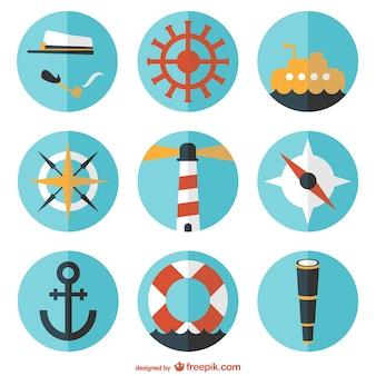 Round vector nautical flat set
