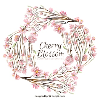 Round watercolor background with cherry blossoms