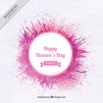 Round women's day background with paint stains