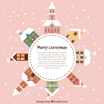 Rounded christmas card with snowy houses