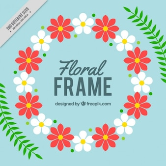 Rounded floral frame with leaves