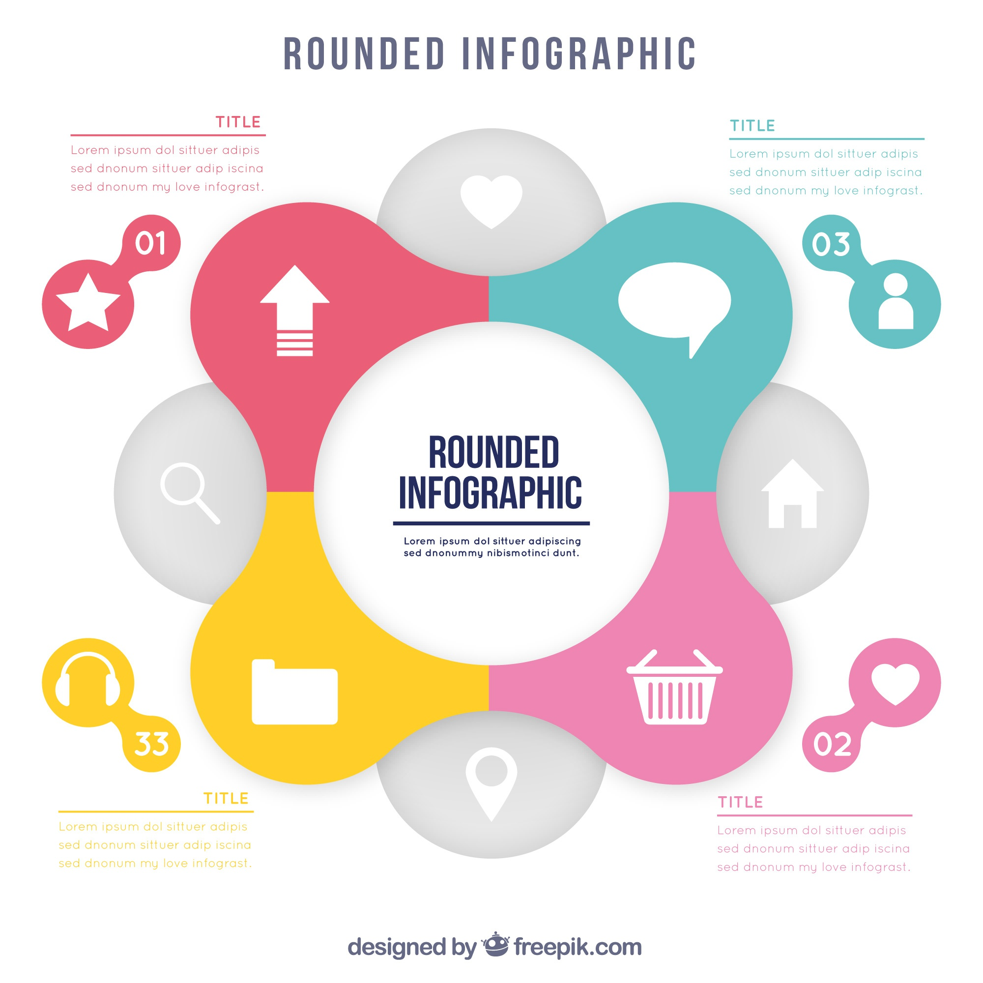 Rounded infographic in flat design