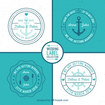 Rounded nautical wedding labels