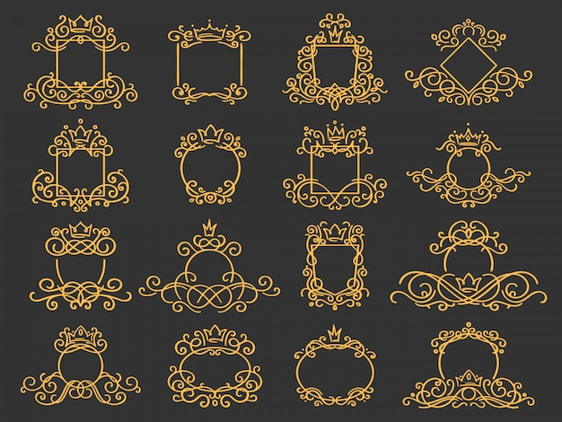 Royal monogram frame. hand drawn crown emblem, vintage doodle sketch sign and elegant monograms   set