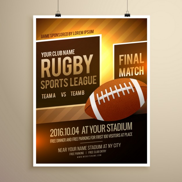 Rugby sports flyer template