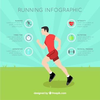 Runner graphics in flat design