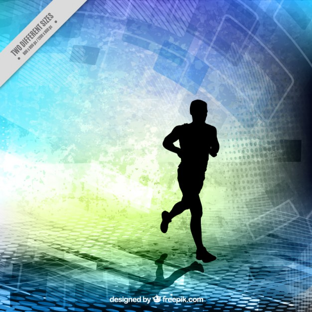 Runner silhouette on a abstract shapes background