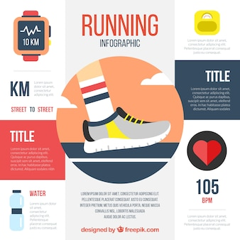 Running infographic with flat items