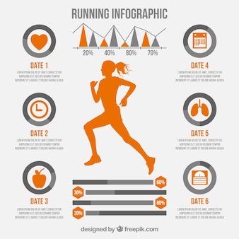 Running infographic with girl silhouette