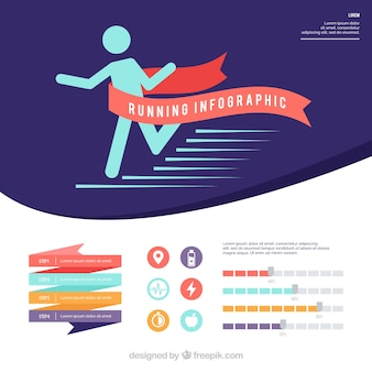 Running infographic with ribbons