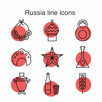 Russia line icons