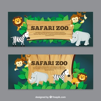 Safari banners with animals