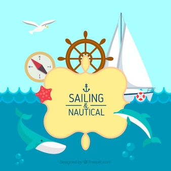 Sailing background in flat design with elements
