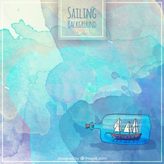 Sailing background with a boat in a bottle