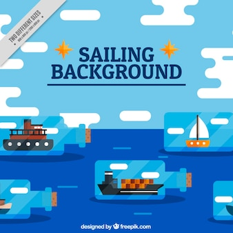 Sailing background with ships in bottles