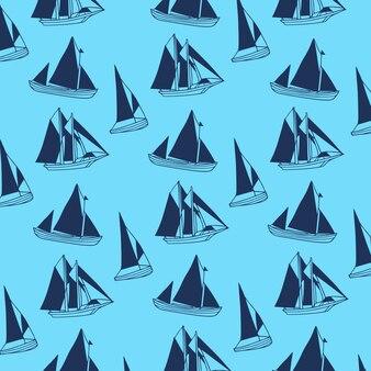Sailing boat pattern background