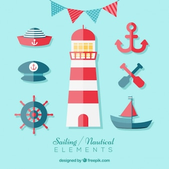 Sailing elements in flat design