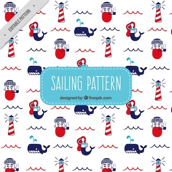 Sailor and lighthouse pattern